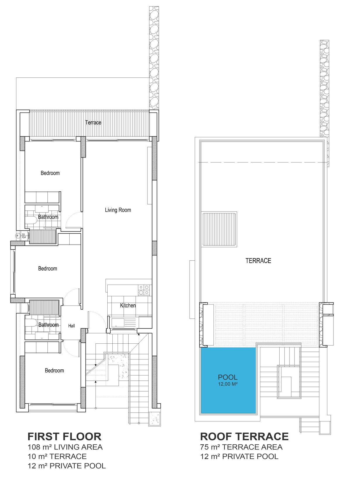 Living area, terrace & roof terrace