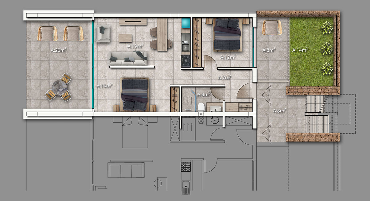 Living area & terrace