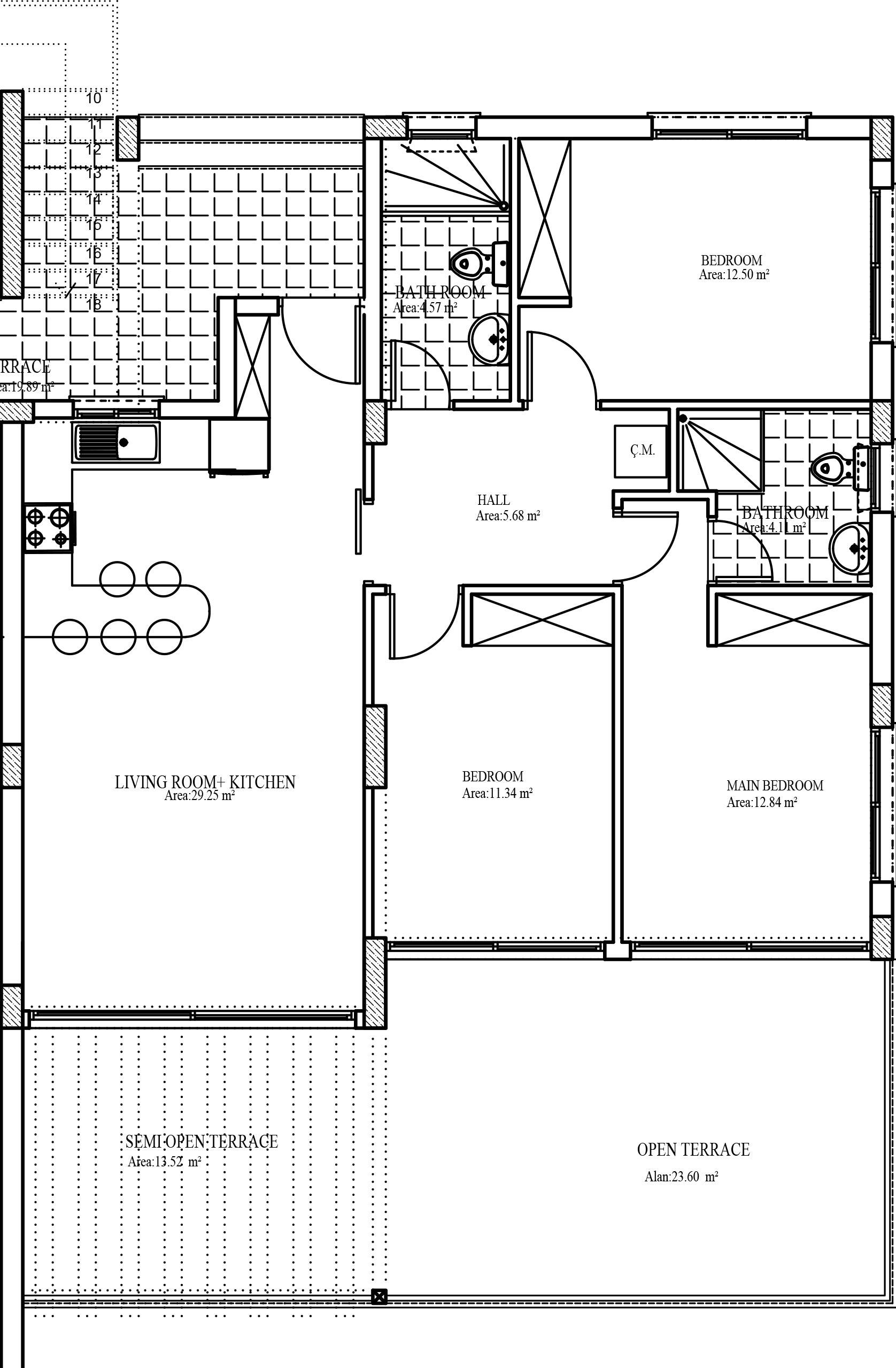A3-1 - 3 bedroom garden apartment