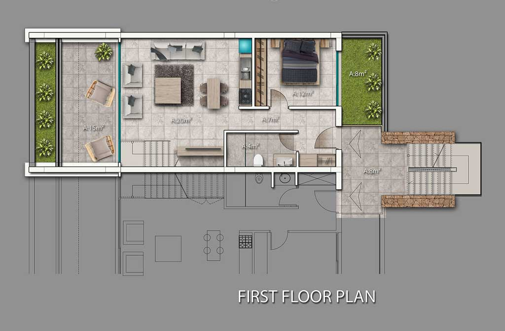 Block B1 & B2 - 3 bedroom duplex penthouse